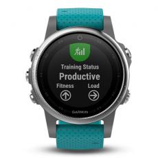 Умные часы Garmin Fenix 5S с GPS, серебристые с бирюзовым ремешком, фото 2