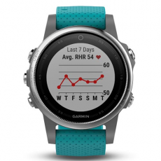 Умные часы Garmin Fenix 5S с GPS, серебристые с бирюзовым ремешком, фото 3