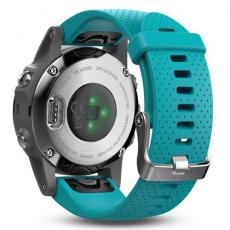 Умные часы Garmin Fenix 5S с GPS, серебристые с бирюзовым ремешком, фото 4