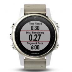 Умные часы Garmin Fenix 5S Sapphire с GPS, шампань с серым ремешком, фото 4