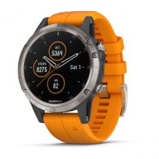 Умные часы Garmin Fenix 5 PLUS Sapphire, титан с оранжевым ремешком, фото 1