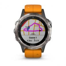 Умные часы Garmin Fenix 5 PLUS Sapphire, титан с оранжевым ремешком, фото 2