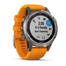 Умные часы Garmin Fenix 5 PLUS Sapphire, титан с оранжевым ремешком, фото 3