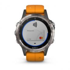 Умные часы Garmin Fenix 5 PLUS Sapphire, титан с оранжевым ремешком, фото 4