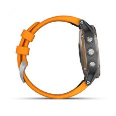 Умные часы Garmin Fenix 5 PLUS Sapphire, титан с оранжевым ремешком, фото 5