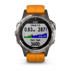 Умные часы Garmin Fenix 5 PLUS Sapphire, титан с оранжевым ремешком, фото 6