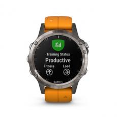 Умные часы Garmin Fenix 5 PLUS Sapphire, титан с оранжевым ремешком, фото 7