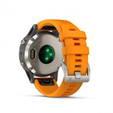 Умные часы Garmin Fenix 5 PLUS Sapphire, титан с оранжевым ремешком, фото 8