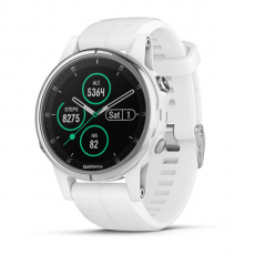 Умные часы Garmin Fenix 5S PLUS Sapphire, белые с белым ремешком, фото 1