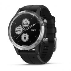 Умные часы Garmin Fenix 5 PLUS Glass, серебристые с черным ремешком, фото 1