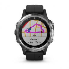 Умные часы Garmin Fenix 5 PLUS Glass, серебристые с черным ремешком, фото 2