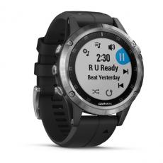 Умные часы Garmin Fenix 5 PLUS Glass, серебристые с черным ремешком, фото 3