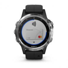 Умные часы Garmin Fenix 5 PLUS Glass, серебристые с черным ремешком, фото 4
