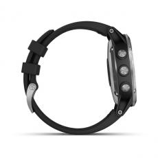 Умные часы Garmin Fenix 5 PLUS Glass, серебристые с черным ремешком, фото 5