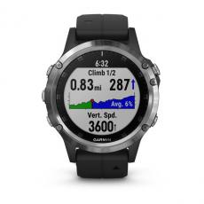 Умные часы Garmin Fenix 5 PLUS Glass, серебристые с черным ремешком, фото 6