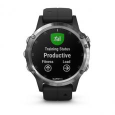 Умные часы Garmin Fenix 5 PLUS Glass, серебристые с черным ремешком, фото 7