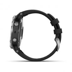 Умные часы Garmin Fenix 5 PLUS Glass, серебристые с черным ремешком, фото 8