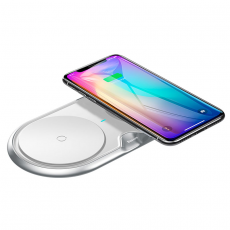Беспроводное зарядное устройство Baseus Dual Wireless Plastic Style на два устр.+ переходник, белый, фото 2