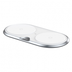 Беспроводное зарядное устройство Baseus Dual Wireless Plastic Style на два устр.+ переходник, белый, фото 3