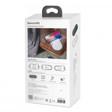 Беспроводное зарядное устройство Baseus Dual Wireless Plastic Style на два устр.+ переходник, белый, фото 4