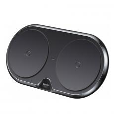 Беспроводное зарядное устройство Baseus Dual Wireless Plastic Style на два устр.+ переходник, черный, фото 1