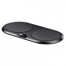 Беспроводное зарядное устройство Baseus Dual Wireless Plastic Style на два устр.+ переходник, черный, фото 2