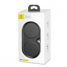 Беспроводное зарядное устройство Baseus Dual Wireless Plastic Style на два устр.+ переходник, черный, фото 4