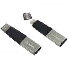 Флеш-накопитель SanDisk iXpand Mini, USB-A и Lightning, 128Гб, серый, фото 1