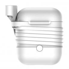 Чехол с держателем Baseus для наушников Apple AirPods, серый, фото 2