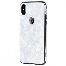 Чехол Bling My Thing Tresure, Hematite Skull для iPhone XS/X, с кристаллами Swarovski, белый, фото 2