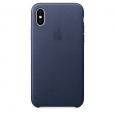 Кожаный чехол для iPhone XS Max, тёмно-синий цвет, фото 1
