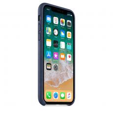 Кожаный чехол для iPhone XS Max, тёмно-синий цвет, фото 3