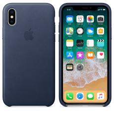 Кожаный чехол для iPhone XS Max, тёмно-синий цвет, фото 2