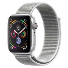 """Apple Watch Series 4, 44 мм, корпус из алюминия серебристого цвета, спортивный браслет цвета """"белая ракушка"""", фото 1"""