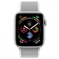 """Apple Watch Series 4, 44 мм, корпус из алюминия серебристого цвета, спортивный браслет цвета """"белая ракушка"""", фото 2"""
