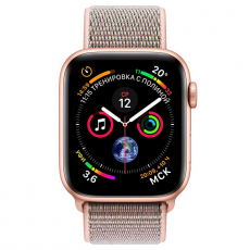 """Apple Watch Series 4, 44 мм, корпус из алюминия золотого цвета, спортивный браслет цвета """"розовый песок"""", фото 2"""