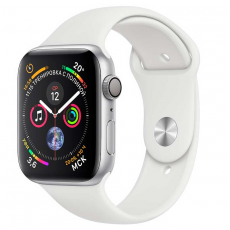 Apple Watch Series 4, 40 мм, корпус из алюминия серебристого цвета, спортивный ремешок белого цвета, фото 1