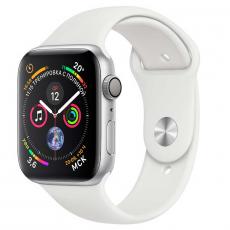 Apple Watch Series 4, 44 мм, корпус из алюминия серебристого цвета, спортивный ремешок белого цвета, фото 1