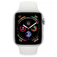 Apple Watch Series 4, 44 мм, корпус из алюминия серебристого цвета, спортивный ремешок белого цвета, фото 2