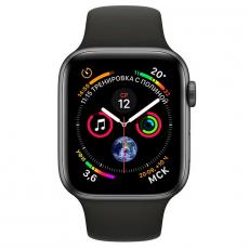 """Apple Watch Series 4, 44 мм, корпус """"серый космос"""", чёрный спортивный ремешок, фото 2"""