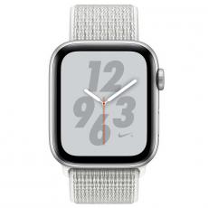 """Apple Watch Nike+, 44 мм, Series 4, корпус из алюминия серебристого цвета, спортивный браслет Nike цвета """"снежная вершина"""", фото 2"""