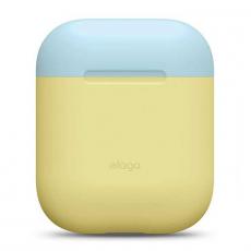 Чехол силиконовый Elago DUO для AirPods, желтый, крышка белая и голубая, фото 2
