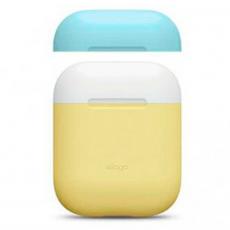 Чехол силиконовый Elago DUO для AirPods, желтый, крышка белая и голубая, фото 3