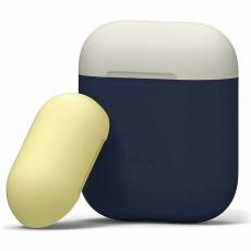 Чехол силиконовый Elago DUO для AirPods, синий, крышка белая и желтая, фото 1