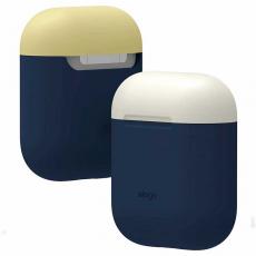 Чехол силиконовый Elago DUO для AirPods, синий, крышка белая и желтая, фото 2