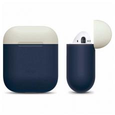 Чехол силиконовый Elago DUO для AirPods, синий, крышка белая и желтая, фото 3