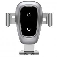 Беспроводная зарядка-автодержатель Baseus Metal Wireless Charger Gravity Car Mount, серебристый, фото 1