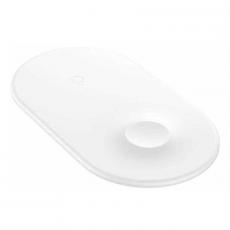 Беспроводное зарядное устройство Baseus Smart на два устр, белый, фото 2