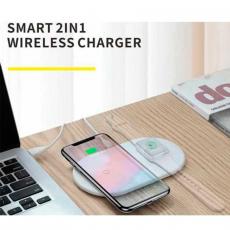 Беспроводное зарядное устройство Baseus Smart на два устр, белый, фото 3