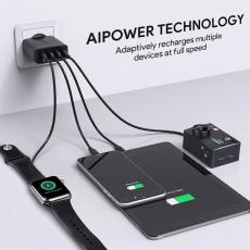 Сетевое зарядное устройство Aukey, 4 USB-A, 40W, 8А, чёрный, фото 3